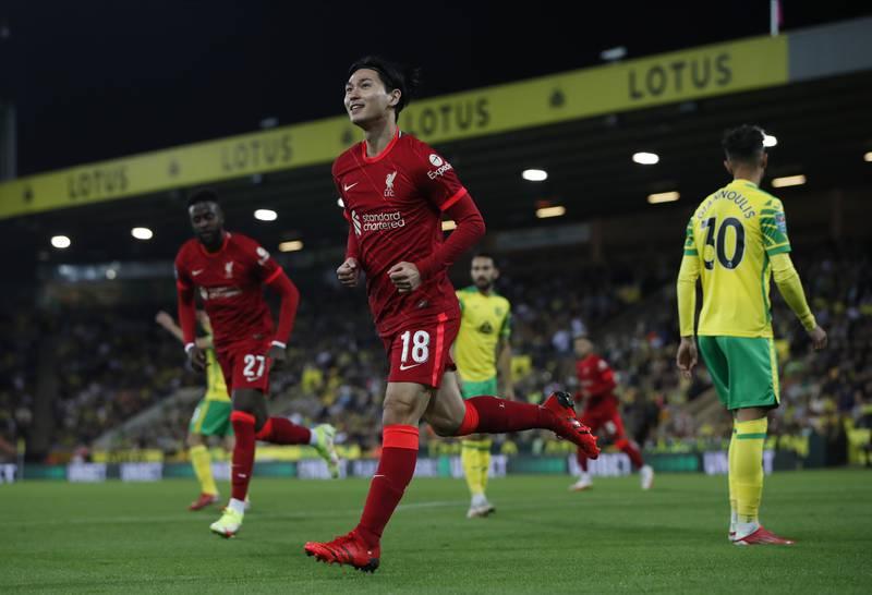 Takumi Minamino ble tomålsscorer i Liverpools seier i ligacupen tirsdag