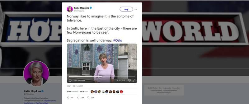 Videoen fra Katie Hopkins lagt ut på Twitter høstet storm.