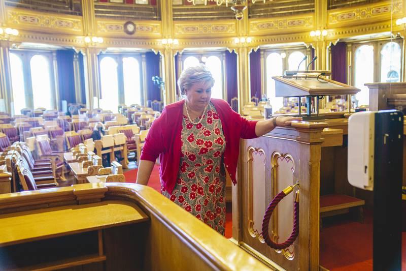 Statsminister Erna Solberg i Stortinget i mai i år. Foto: Stian Lysberg Solum / NTB