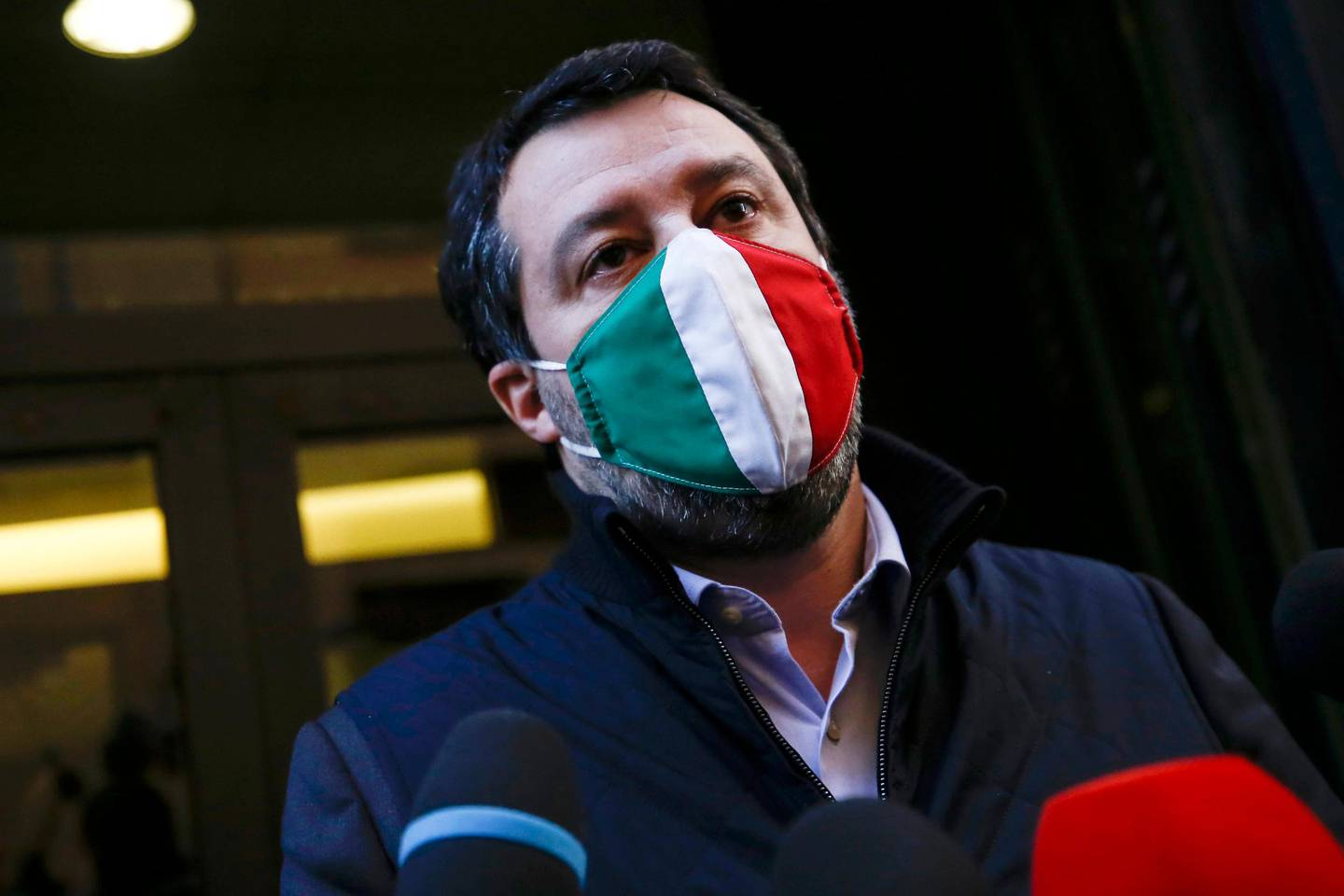 Leader of The League party, Matteo Salvini, meets reporters in Rome, Tuesday, Jan. 26, 2021. Italian Premier Giuseppe Conte resigned Tuesday after a key coalition ally pulled his party's support over Conte's handling of the coronavirus pandemic, setting the stage for consultations this week to determine if he can form a third government. (Cecilia Fabiano/LaPresse via AP)