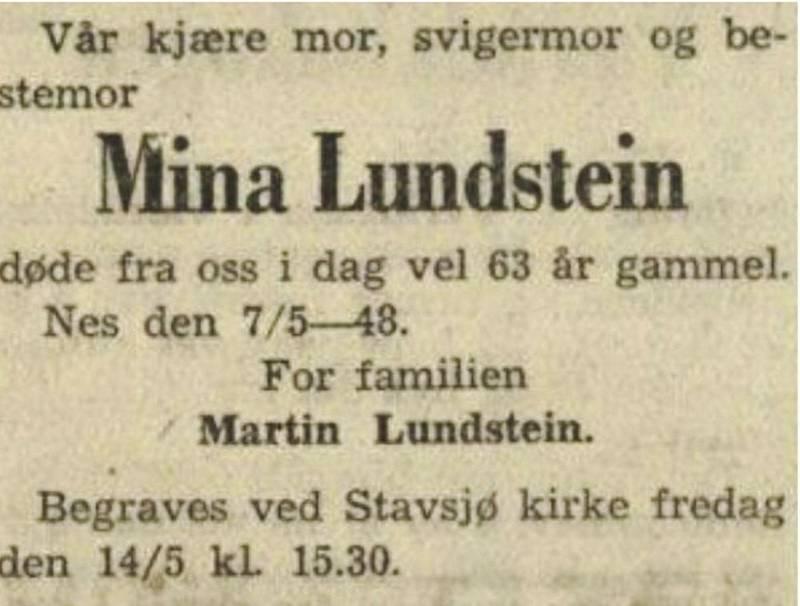 Mina Lundstein døde i 1948, 63 år gammel.
