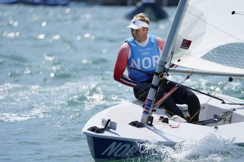 Herman Tomasgaard i aksjon i Laser i OL. Foto: Heiko Junge / NTB