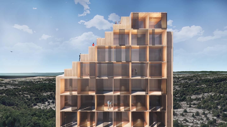 «Et hotell på 20 etasjer som rager 75 meter opp er totalt malplassert i terrenget», skriver Papperhavn Velforening.