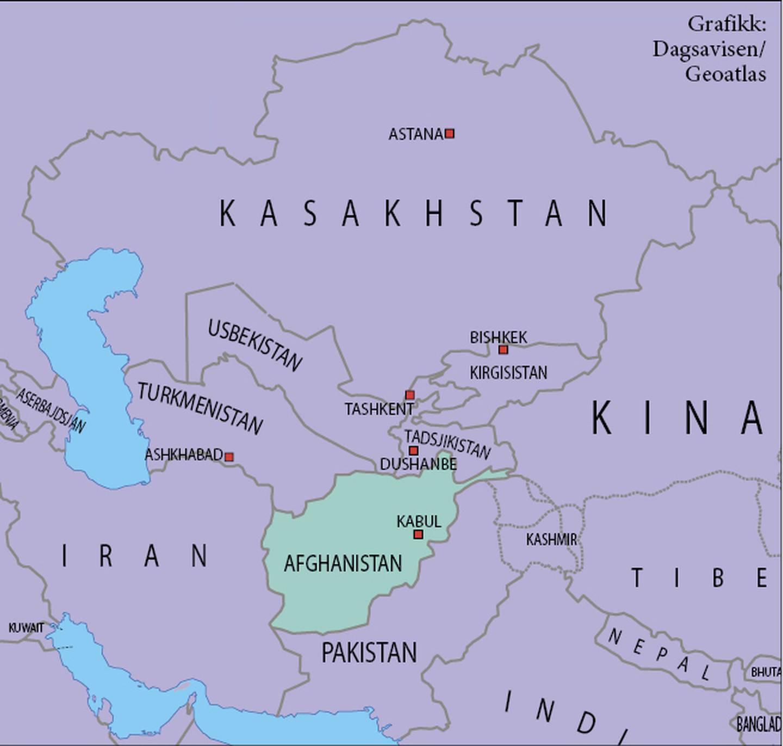 Mange land har interesser i og rundt Afghanistan. Kart: Dagsavisen