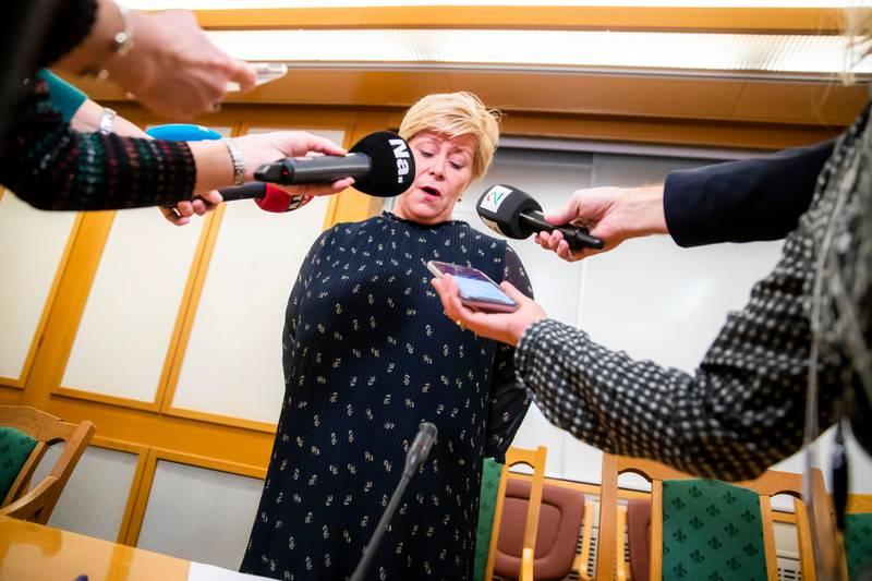 Oslo 20200115.  Partileder og finansminister Siv Jensen snakker med pressen etter gruppemøtet til Frp i Stortinget onsdag. Foto: Håkon Mosvold Larsen / NTB scanpix