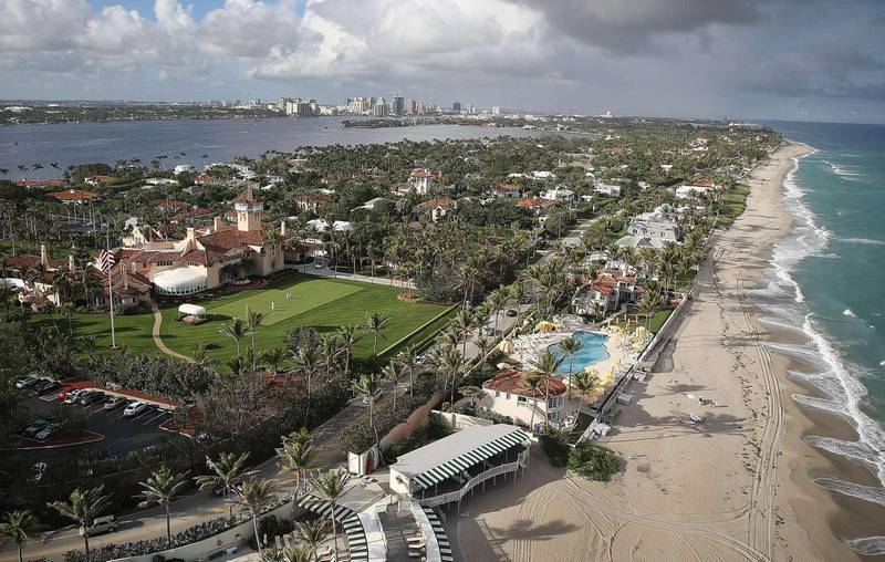 PALM BEACH, FL - JANUARY 11: The Atlantic Ocean is seen adjacent to President Donald Trump's beach front Mar-a-Lago resort the day after Florida received an exemption from the Trump Administration's newly announced ocean drilling plan on January 11, 2018 in Palm Beach, Florida. Florida was the only state to receive an exemption from the announced deregulation plan to allow offshore oil and gas drilling in all previously protected waters of the Atlantic and Pacific oceans.   Joe Raedle/Getty Images/AFP == FOR NEWSPAPERS, INTERNET, TELCOS & TELEVISION USE ONLY ==