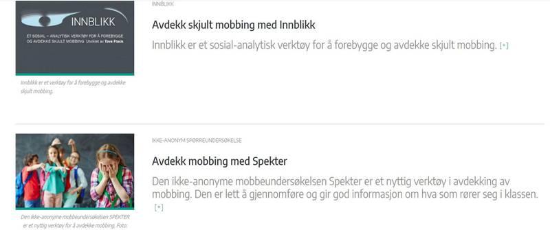 På Universitetet i Stavangers nettsider kan man lese om både Spekter og Innblikk. Foto: Skjermdump
