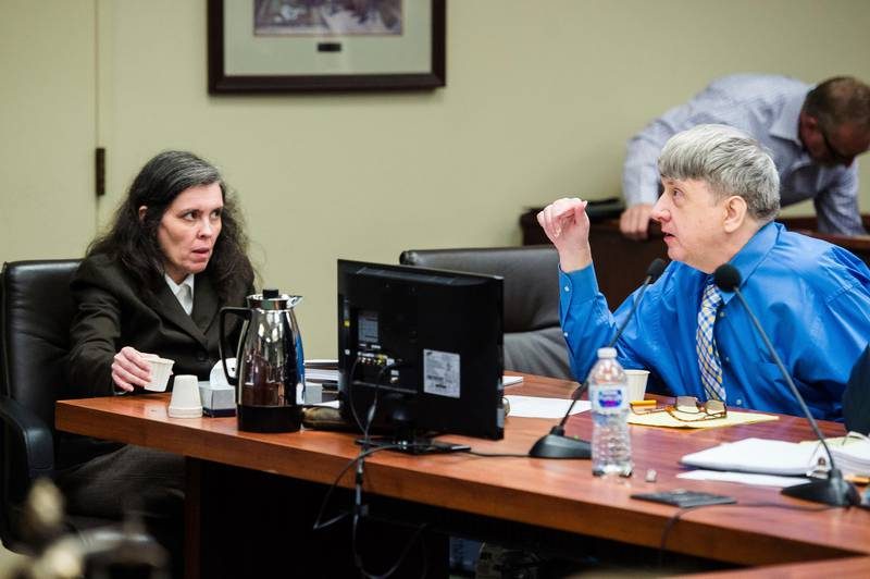 FILE - In this June 20, 2018 file photo, Louise Turpin, left, and her husband, David Turpin, right, appear for a preliminary hearing in Superior Court in Riverside, Calif. The couple have pleaded not guilty to child abuse, torture and other charges. A Friday, Feb. 22, 2019 court hearing is set for lawyers to discuss preparations for a Sept. 3 trial for David and Louise Turpin. The Turpins have pleaded not guilty to dozens of felony counts — including torture, willful child cruelty and false imprisonment. (Watchara Phomicinda/The Press-Enterprise via AP, Pool, file )