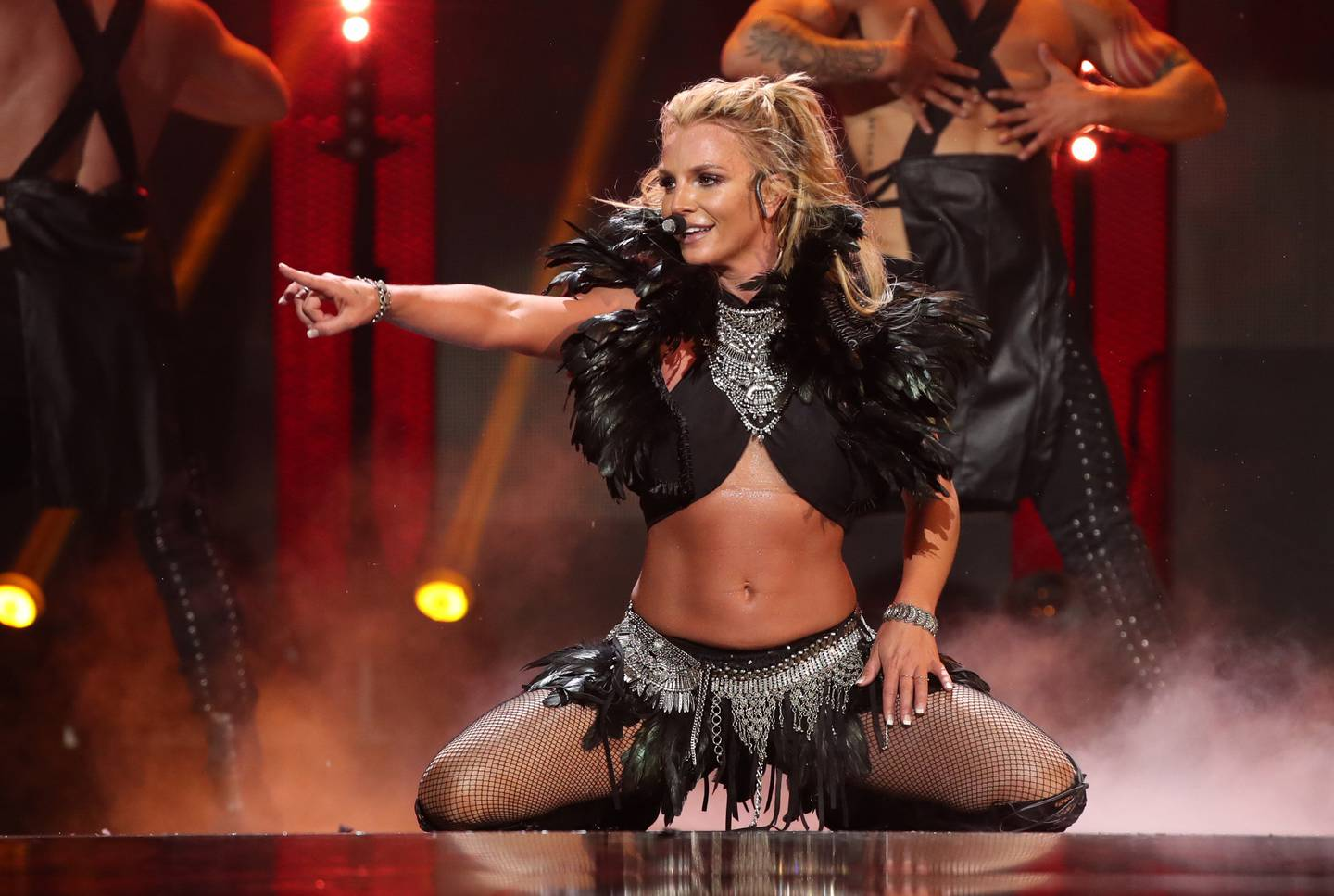 LAS VEGAS, NV - SEPTEMBER 24: Singer Britney Spears performs onstage at the 2016 iHeartRadio Music Festival at T-Mobile Arena on September 24, 2016 in Las Vegas, Nevada.   Christopher Polk/Getty Images for iHeartMedia/AFP == FOR NEWSPAPERS, INTERNET, TELCOS & TELEVISION USE ONLY ==