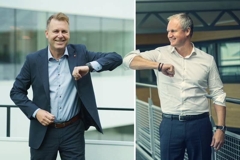 Cegal og SYSCO slår seg sammen for å spille en større rolle i det grønne skiftet. Administrerende direktør i Cegal, Svein Torgersen (t.v.) blir arbeidende  styreleder for det nye selskapet, mens Dagfinn Ringås, administrerende direktør i SYSCO, blir administrerende direktør for det nye selskapet.