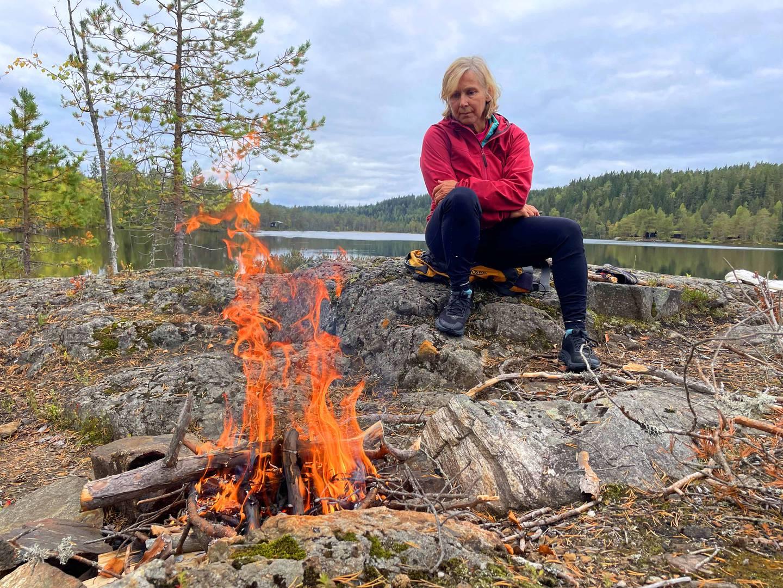 Bålkos ved Prestvannet, omtrent på kommunegrensa mellom Flesberg og Øvre Eiker.