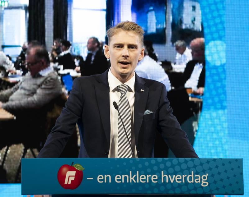 Fremskrittspartiets Ungdom (FpU) har fått halvert medlemstallene de siste ti årene. Formann Andreas Brännström mener at Frps regjeringsengasjement har kostet. Foto: Berit Roald / NTB
