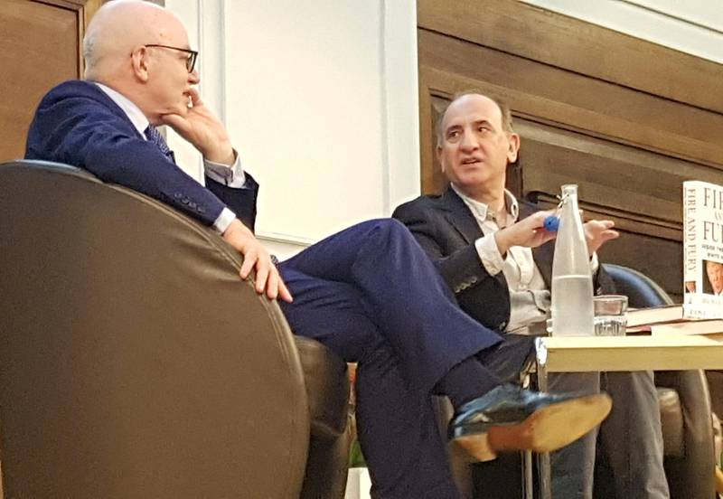 Wolff møtte publikum og satiriker Armando Iannucci i London fredag