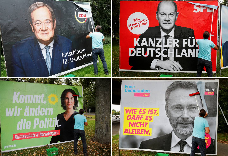 Plakater for toppkandidatene i det tyske valget. Øverst f.v.: Armin Laschet fra CDU og Olaf Scholz fra SPD. Nederst f.v.: De grønnes Annalena Baerbock og FDPs Christian Lindner.