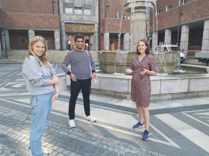 Fungerende leder i Oslo sosialistisk ungdom Gro Helene Lintoft Bøyum, leder i Oslo AUF Mansoor Hussain og leder i Oslo Grønn Ungdom Nora Selnæs har utformet noen felles krav til neste års Oslobudsjett.