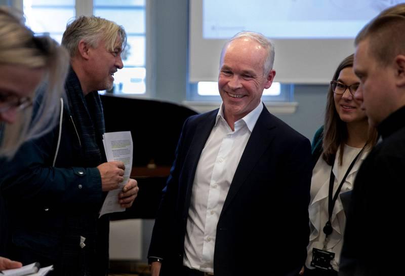 Jan Tore Sanner la fram stortingsmeldingen om tidlig innsats på Majorstuen skole 8. november 2019. Foto: Mina Ræge