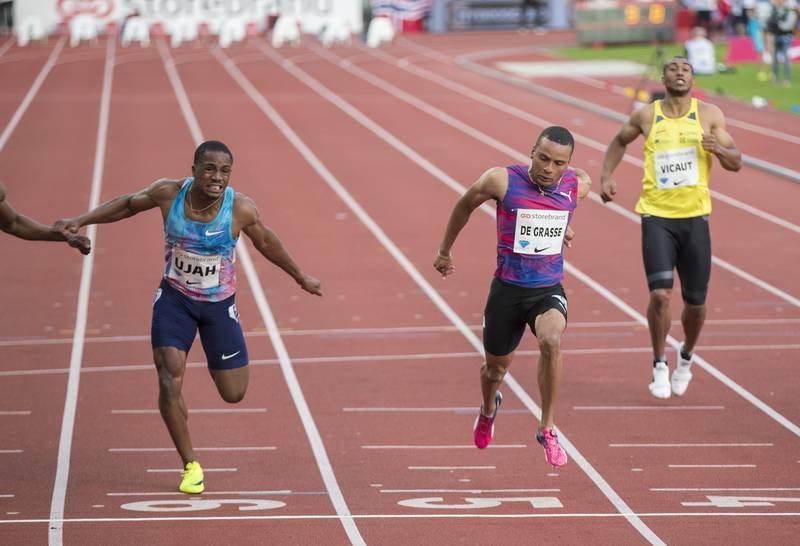 Chijindu Ujah (til v.) i aksjon under Bislett Games for noen år siden. Britens positive dopingprøve fører trolig til tapt OL-sølv i stafett. Andre De Grasse (midt i bildet) og hans canadiske lagkamerater vil da overta sølvet. Foto: Vidar Ruud / NTB