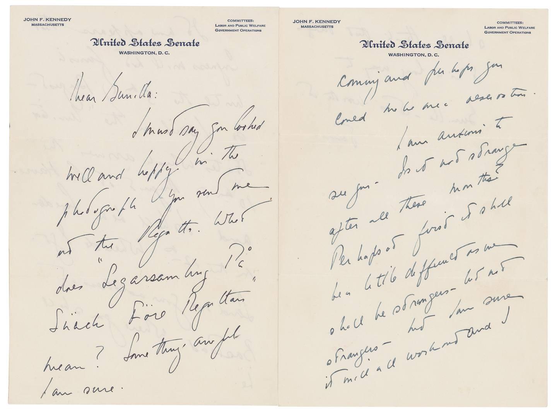 Her er av kjærlighetsbrevene, som starter med «Kjære Gunilla», som nå auksjoneres bort.