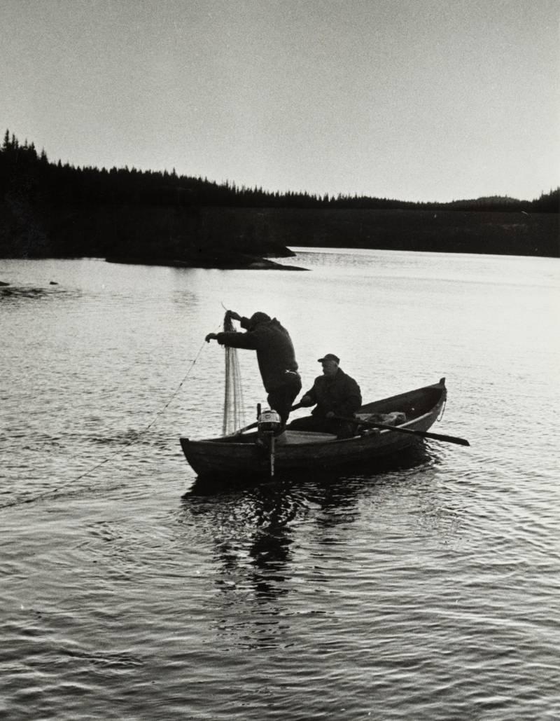 Fiske med garn på Katnosa i 1978, ikke så ulikt måten de fisket i Nordmarka 135 år tidligere.