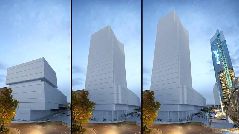 Fra venstre, Alternativ 1, 2 og 3. Bygget i midten, som Plan- og bygningsetaten anbefaler, er hele 90 meter høyt.