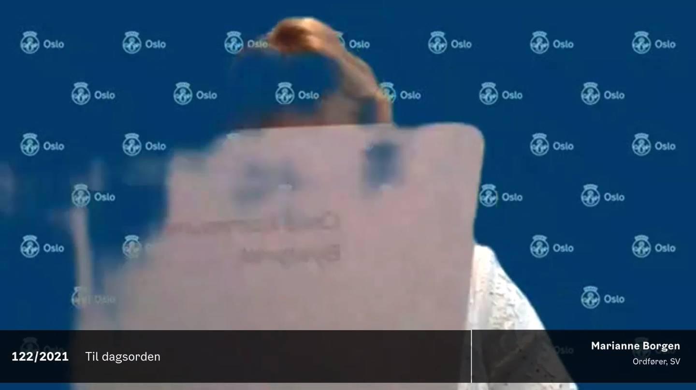 Ordfører Marianne Borgen (SV) går i ett med tapeten.