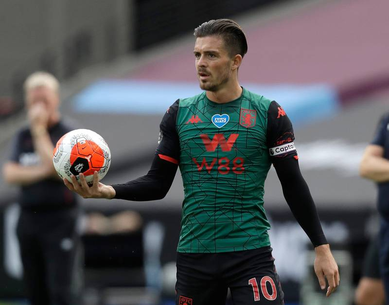 FILE - In this file photo dated Sunday, July 26, 2020, Aston Villa's Jack Grealish, during their English Premier League soccer match against West Ham United at the London Stadium in London   Grealish was included in England's squad on Monday Aug. 31, 2020, for the first time ahead of UEFA Nations League matches against Iceland and Denmark.(AP Photo/Matt Dunham, FILE)