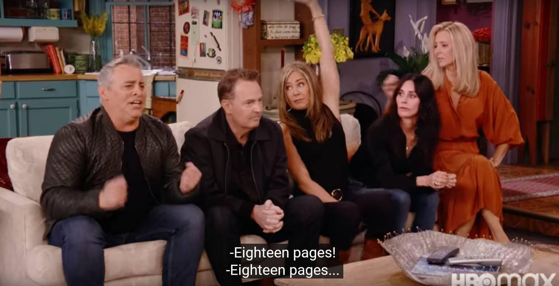 Tilbake i sofaen – for en gjettekonkurranse viet «Friends»-spørsmål, som her: Hvor mange sider Rachels brev til Ross var. Skjermdump / YouTube