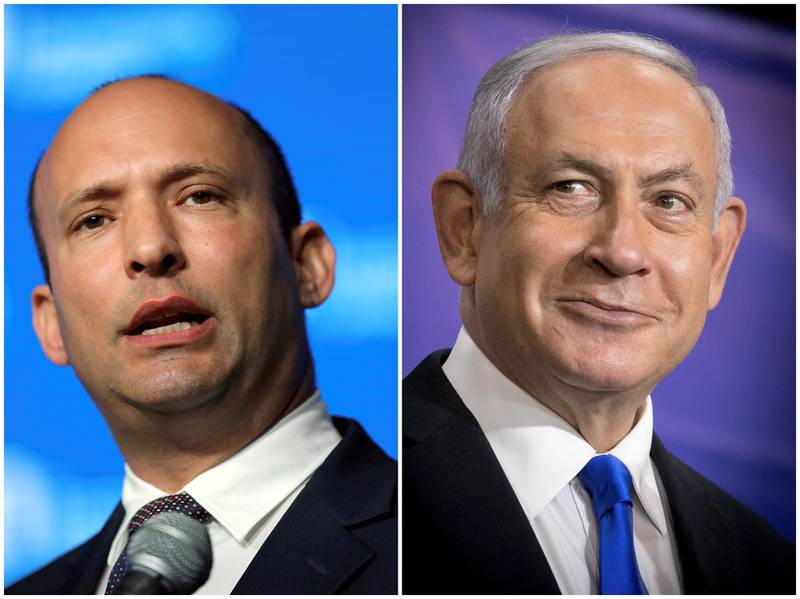 Statsminister Benjamin Netanyahus (t.h.) dager kan være talte. Naftali Bennett (t.v.) kan da bli landets neste statsminister.