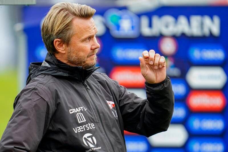 FFKs trener Bjørn Johansen under 1.-divisjonskampen i fotball mellom KFUM og Fredrikstad onsdag.