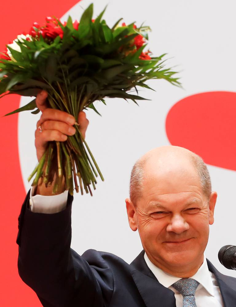 SPDs kanslerkandidat Olaf Scholz mandag.