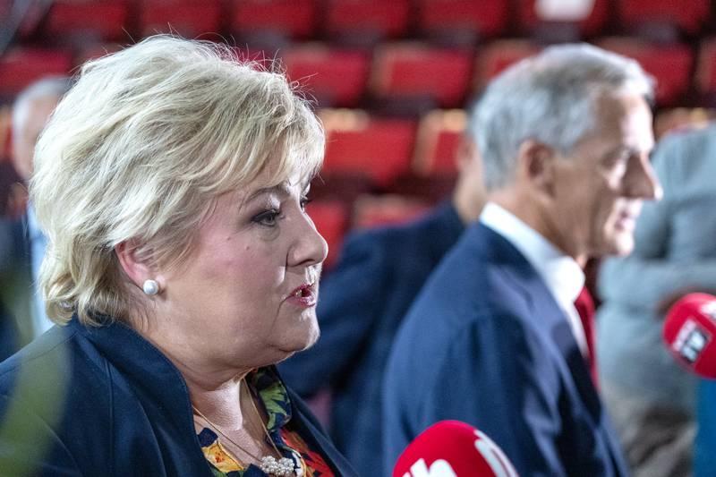 Statsminister Erna Solberg (H) og Ap-leder Jonas Gahr Støre. Foto: Gorm Kallestad / NTB