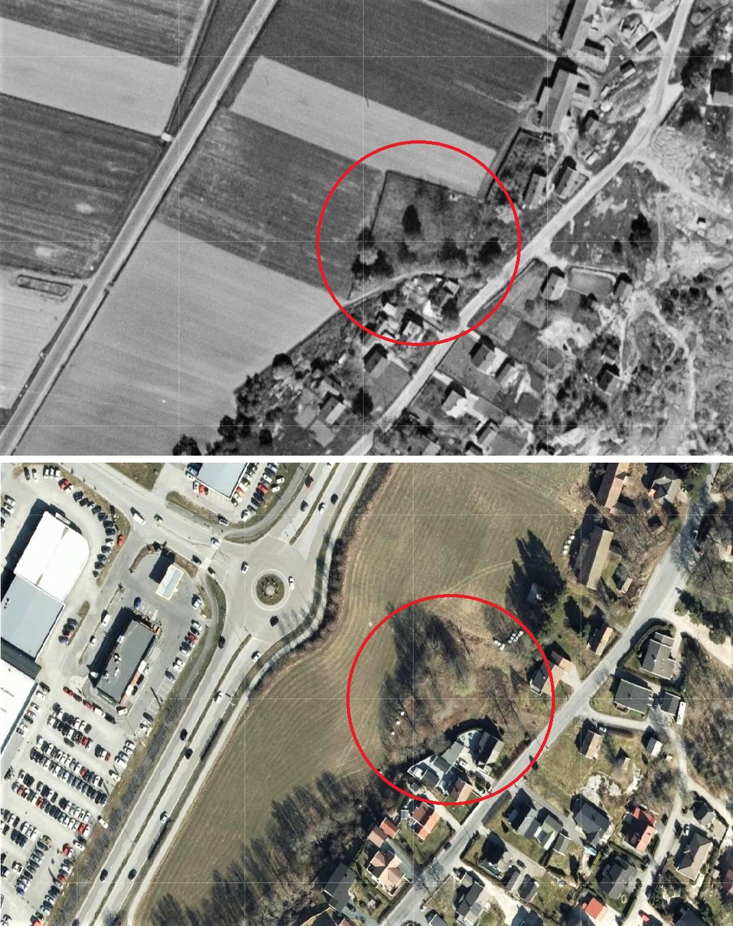 Øverst: Gamle Glemmen hjelpekirkegård på flyfoto fra 1952. Nederst ser vi samme område fotografert i 2020.