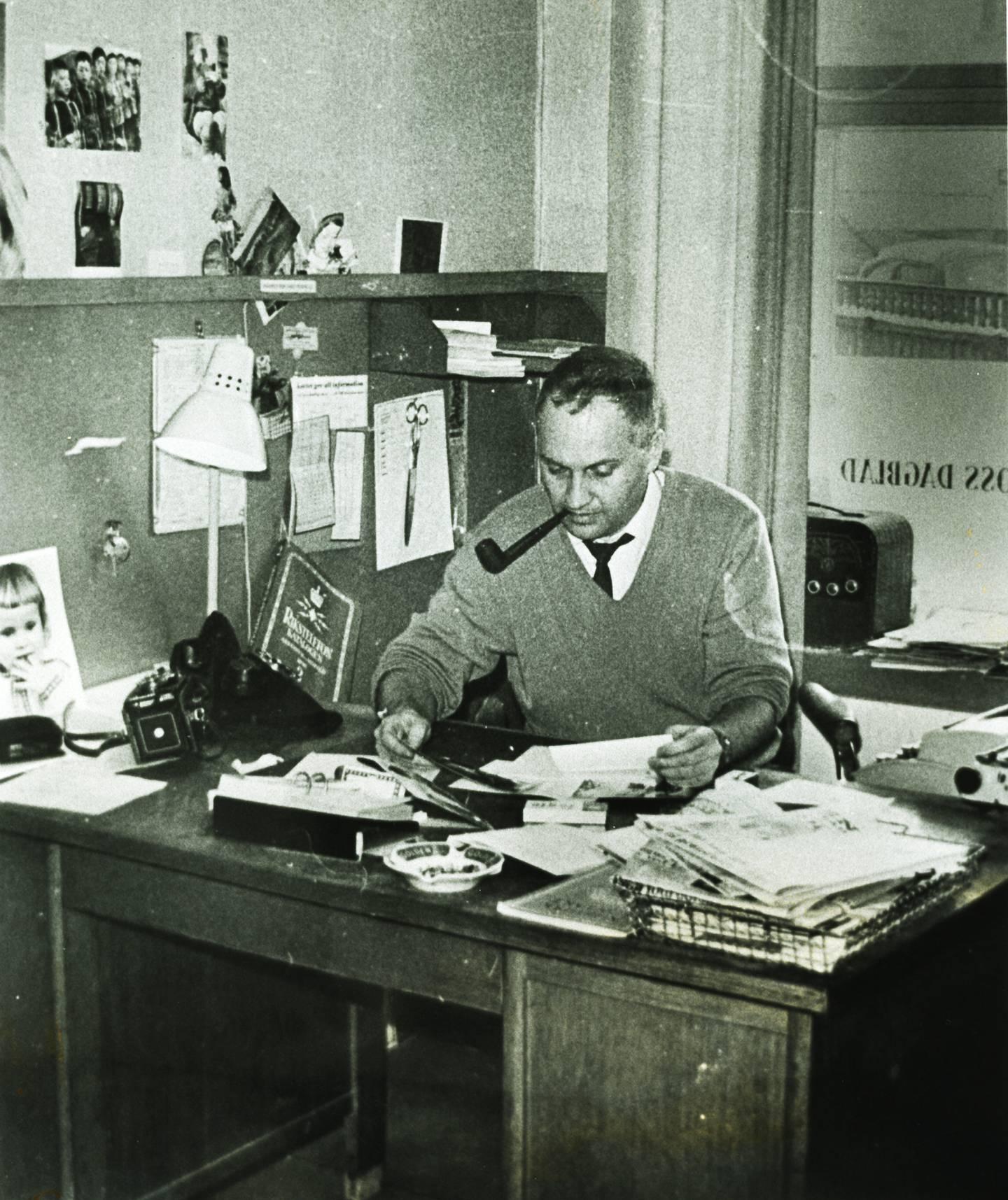 Redaktør og journalist Frank Berg. Montanus. Redaksjonell legende i Moss Dagblad. 1963.