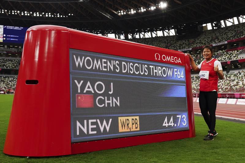 Yao Juan var i en egen klasse og vant med et kast på ny verdensrekord 44,73 meter, i klassen der Ida Nesse ble nummer fire.