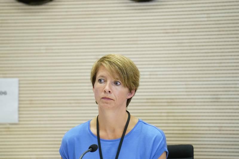 Askim 20200809.  Kommunikasjonssjef Mimi Slevigen under pressekonferansen i forbindelse med smittespredningen i Indre Østfold søndag ettermiddag. Foto: Fredrik Hagen / NTB scanpix
