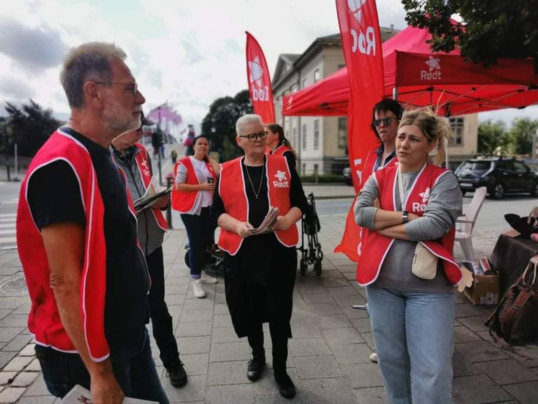 Hannah Berg på stand med partifeller under valgkamp i Halden.