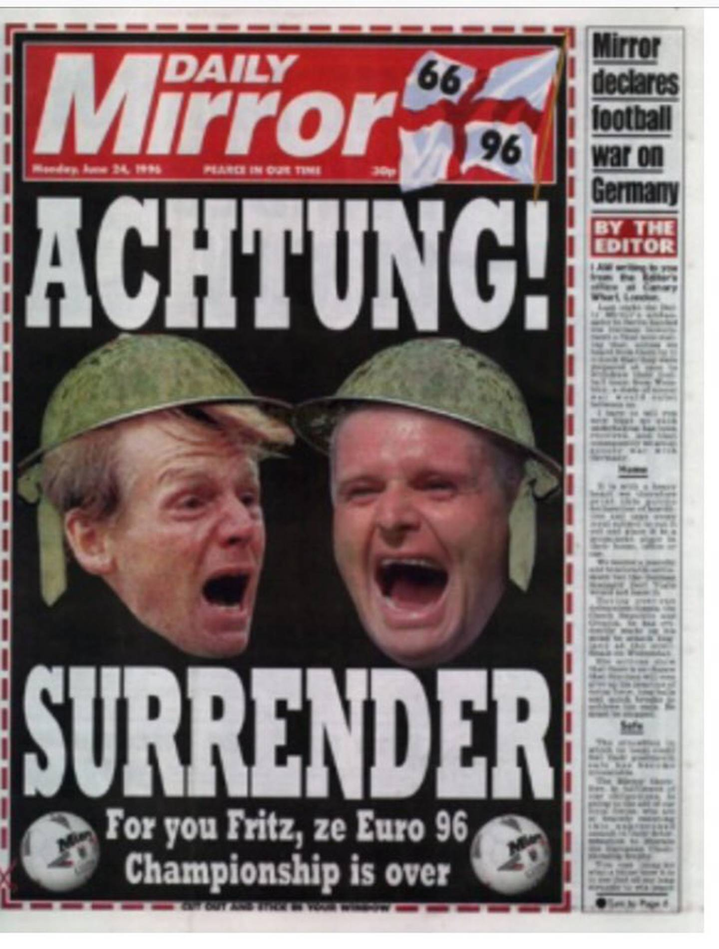 Engelsk avisside før England-Tyskland i 1996.