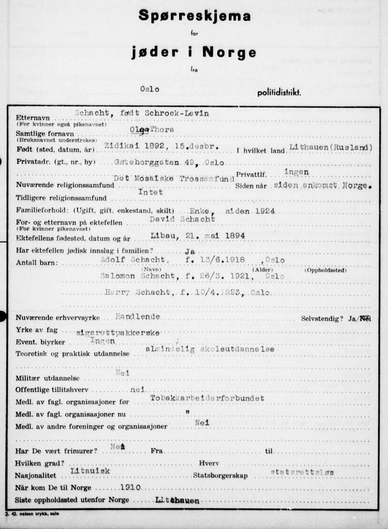 I spørreskjema for jøder i Norge, ført 6. mars 1942, ble Olga Schacht oppført som statsrettsløs, mens folkeregisterets folketelling samme år oppgir henne som russisk. Alle jøder ble pålagt å fylle ut «Spørreskjema for jøder i Norge». Initiativet kom fra Nasjonal Samlings statistiske kontor.