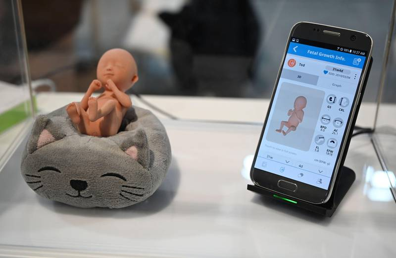 The VR Fetus app from South Korean startup GirjaeSoft is displayed at CES 2019 at the Las Vegas Convention Center in Las Vegas, Nevada on January 11, 2019. - A pregnant woman can monitor fetal growth information via the app, and  can see 3D images of the fetus using GirjaeSoft's dedicated virtual reality head-mounted device (HMD) and a connected ultrasound machine. The enormous international gadget and consumer electronics show returns to Las Vegas on January 7, 2020. (Photo by Robyn Beck / AFP)
