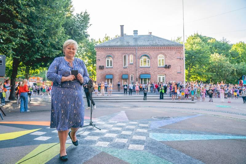 Erna Solberg på Lakkegata skole