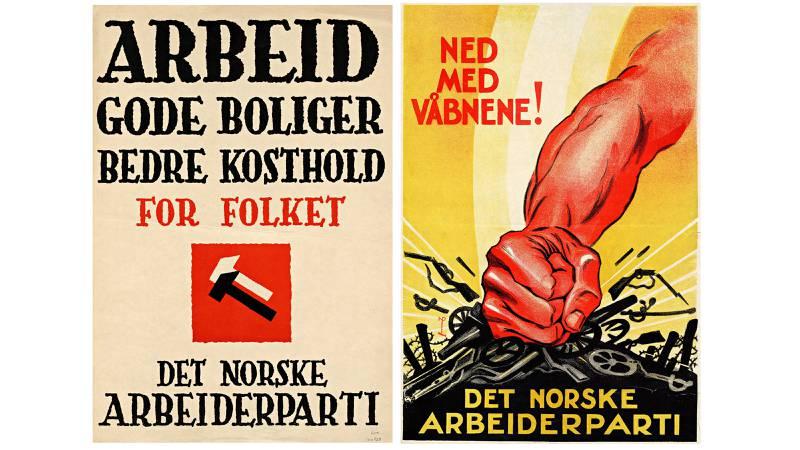 Til venstre: Boligsaken var viktig for Ap gjennom hele mellomkrigstida, og senere. Denne er fra 1939. Til høyre: Niels Røhders klassiske antkrigsplakat for Ap fra 1930 (© Nils Røhde/Bono). FOTO: Nasjonalbiblioteket, plakatsamlingen
