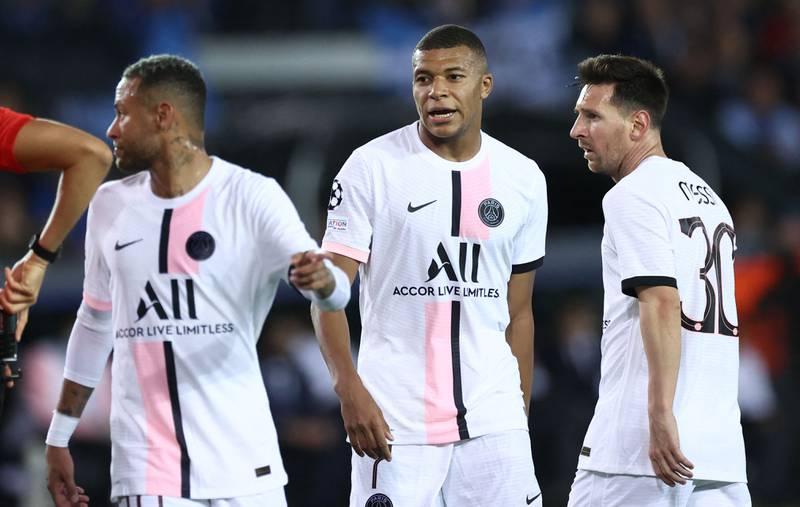 PSGs stjernetrio med Neymar, Kylian Mbappe og Leo Messi fikk det ikke til å stemme mot Club Brügge onsdag.