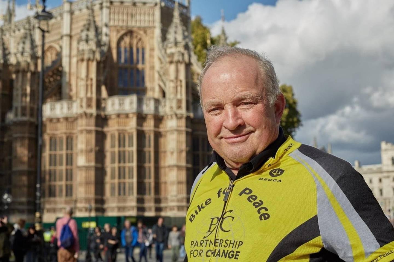 Tore Nærland, fredsaktivist og og leder av Bike for Peace