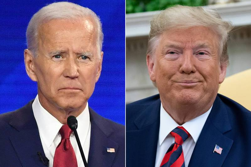 """(FILES)(COMBO) This combination of files pictures created on September 24, 2019 shows Democratic presidential hopeful Former Vice President Joe Biden at Texas Southern University in Houston, Texas on September 12, 2019,and US President Donald Trump during a meeting in the Oval Office at the White House in Washington, DC, September 20, 2019. - US President Donald Trump openly called on China as well as Ukraine to investigate his potential 2020 election rival Joe Biden, taunting Democrats seeking his impeachment for inviting foreign election interference. Speaking in Florida October 3, 2019, Trump blasted his accusers as """"maniacs"""" pursuing """"impeachment crap"""" as he sought to turn the tables on a probe that threatens to make him only the third US president ever impeached in the House of Representatives, and face a trial in the Senate. (Photos by Robyn BECK and SAUL LOEB / AFP)"""