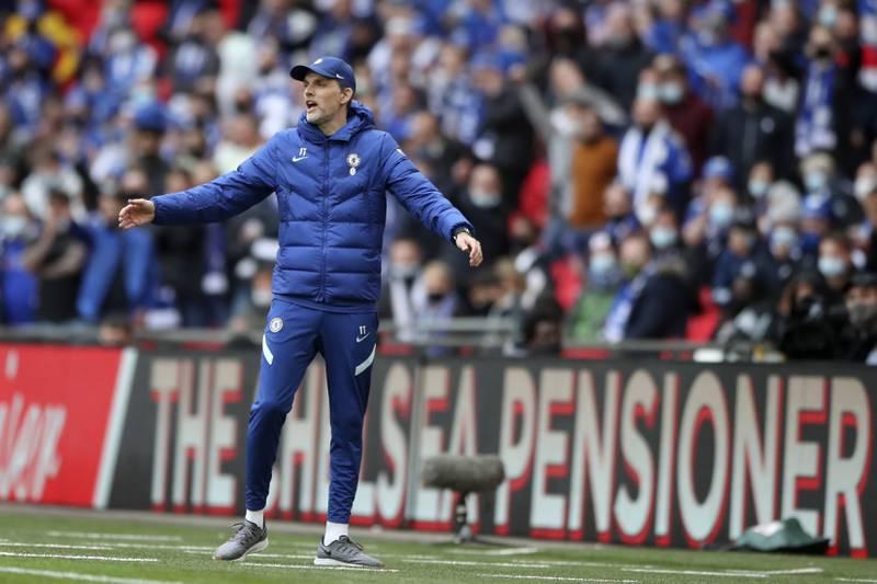 Chelsea-manager Thomas Tuchel mente at Leicesters vinnermål i FA-cupfinalen skulle vært annullert for hands i forspillet. Foto: Nick Potts, Pool via AP / NTB