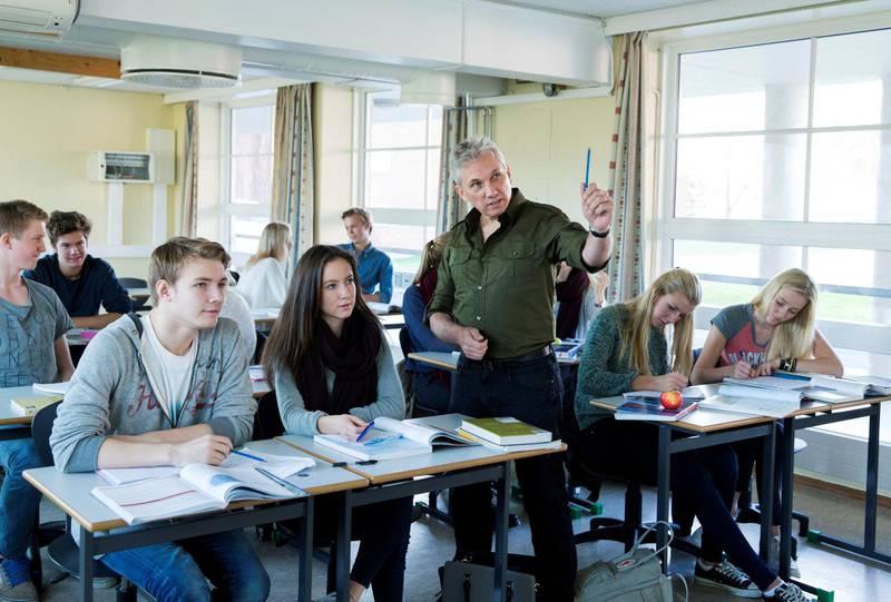 Klassesituasjon fra pre koronatid. Slik vil høsten ikke bli i videregående skole ... Foto: Berit Roald/NTB scanpix