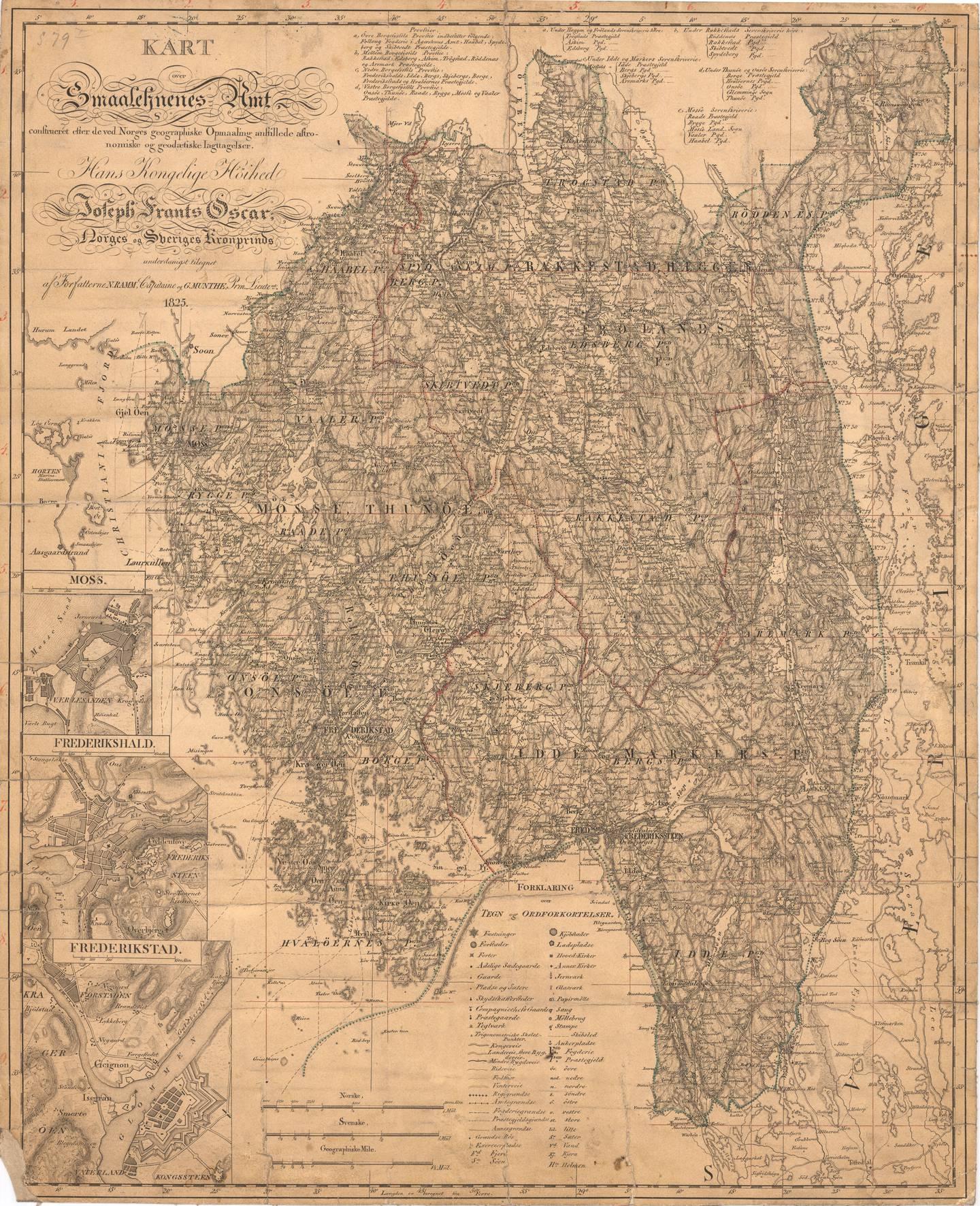 Smaalenenes Amt. Amtskart fra 1825 i målestokk 1:200000. Håndtegnet av kartteiknar/oppmåler Gerhard Munthe