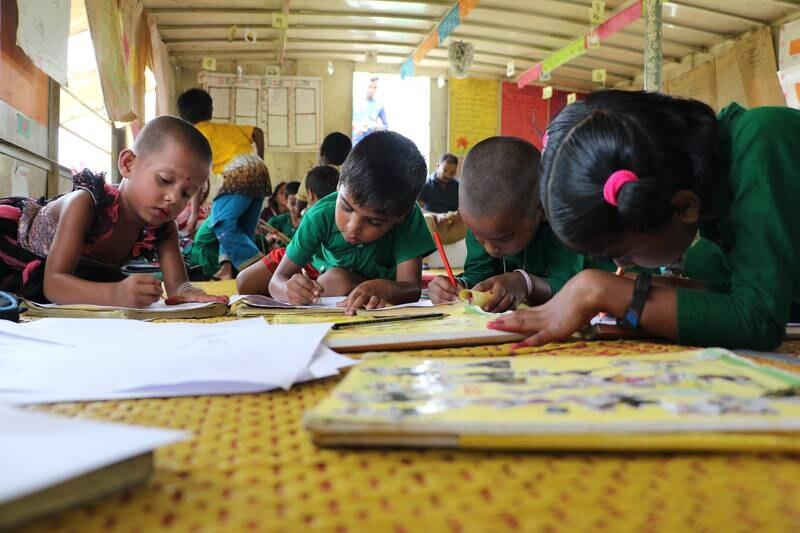 Førsteklassinger på en liten skole i Mymensingh, nord-øst for hovedstaden Dhaka i Bangladesh i 2018.