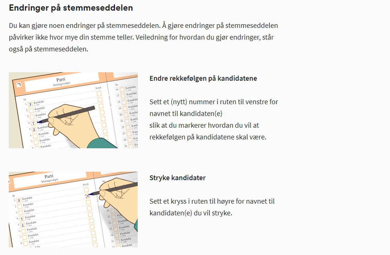 Stemmeseddel-instruks fra Valg.no