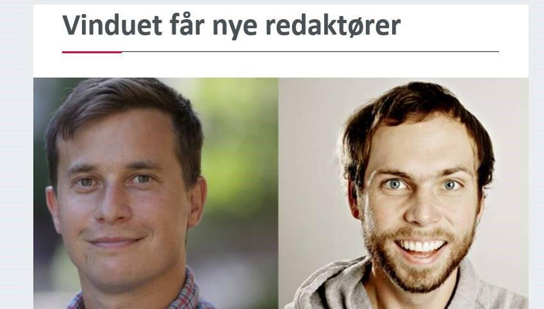 Nye Vinduet-redaktører: Ola Innset og Simen V. Gonsholt
